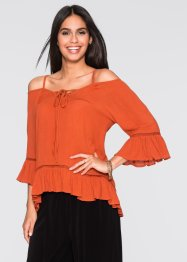 Cold-Shoulder-Bluse, BODYFLIRT, orangerot