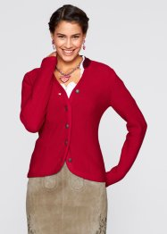 Trachten-Strickjacke mit Stehkragen, bpc bonprix collection, dunkelrot/bordeaux