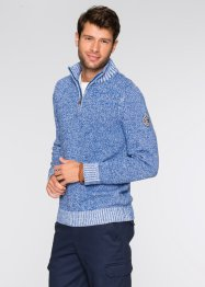 Troyerpullover Regular Fit, bpc bonprix collection, blau/weiß meliert