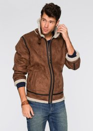 Fellimitat-Jacke Regular Fit, John Baner JEANSWEAR, braun