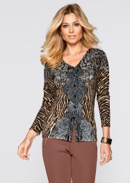 Strickjacke, bpc selection, hellbraun leopard