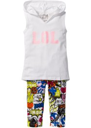 Top + Caprileggings (2-tlg. Set), bpc bonprix collection, weiß/bunt bedruckt