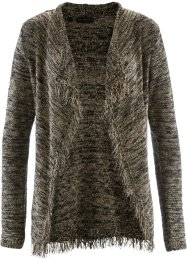 Strickjacke mit Glitzergarn, bpc selection, taupe/schwarz/gold