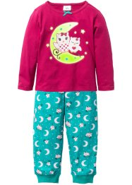 Pyjama (2-tlg. Set) GLOW IN THE DARK, bpc bonprix collection, rotebeete/smaragd