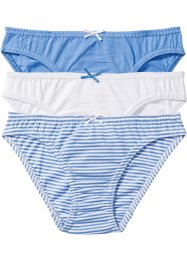 Slip (3er-Pack), bpc bonprix collection, mittelblau/weiß