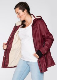 Gummierte Outdoorjacke mit Teddyfleece, bpc bonprix collection, bordeaux