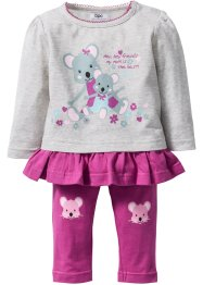 Baby Langarmshirt + Leggings (2tlg.-Set) Bio-Baumwolle, bpc bonprix collection, naturmeliert/fuchsia