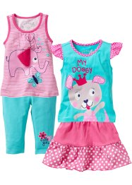 Top + T-Shirt + Rock + 3/4 Leggings (4-tlg. Set), bpc bonprix collection