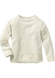 Sweatshirt mit Spitze, bpc bonprix collection, natur melange