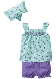 Baby Top + Shorts + Tuch (3-tlg.) Bio-Baumwolle, bpc bonprix collection, hellmint/helllila
