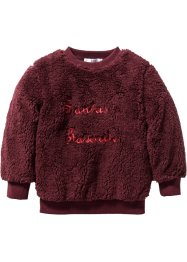 Teddyfell Pullover, bpc bonprix collection, ahornrot