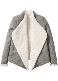 Cardigan mit Teddyfutter, bpc bonprix collection, grau/wollweiß meliert