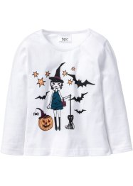 "Langarmshirt ""Glow in the Dark"" Halloween, bpc bonprix collection, weiß bedruckt"