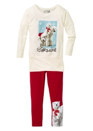 Longshirt und Leggings (2-tlg. Set), bpc bonprix collection, cremeweiss/dunkelrot