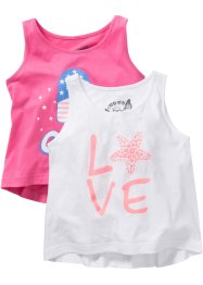 Top bedruckt (2er-Pack), bpc bonprix collection, flamingopink/weiß
