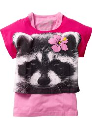Boxy Shirt + Tanktop (2-tlg. Set), bpc bonprix collection, Waschbär dunkelpink/rosa