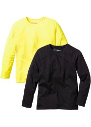 Basic-Langarmshirt (2er-Pack), bpc bonprix collection, neongelb/schwarz