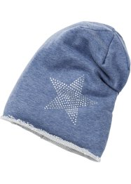 Beanie mit Strassstern, bpc bonprix collection, jeansblau