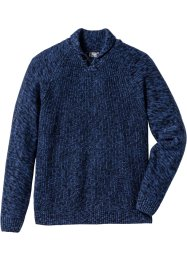 Pullover mit Schalkragen Regular Fit, bpc bonprix collection, dunkelblau meliert