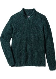Pullover mit Schalkragen Regular Fit, bpc bonprix collection, dunkelgrün meliert
