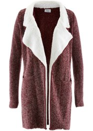 Strickjacke mit Fleece, bpc bonprix collection, ahornrot/wollweiß