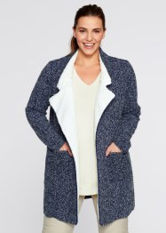 Strickjacke mit Fleece, bpc bonprix collection, dunkelblau/wollweiß