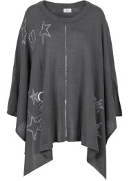 Strickponcho mit Pailletten + Druck, bpc bonprix collection