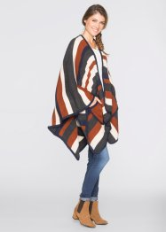 Strick Poncho mit Taschen, bpc bonprix collection, grau/ multi