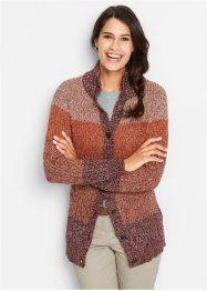 Strickjacke, bpc bonprix collection, ahornrot gestreift