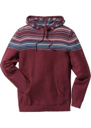 Pullover mit Kapuze Regular Fit, bpc bonprix collection, dunkelrot