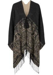 Poncho mit Ornamenten, bpc bonprix collection, schwarz/beige