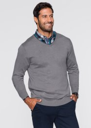 V-Pullover mit Kaschmir Regular Fit, bpc selection, rauchgrau