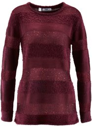 Pullover mit Pailletten, bpc bonprix collection, ahornrot gestreift