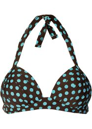 Push-up Bikini Oberteil, bpc bonprix collection, dunkelbraun/aqua gepunktet