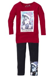 Longshirt und Leggings (2-tlg. Set), bpc bonprix collection, dunkelrot/dunkelanthrazit