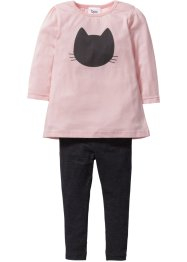 Longshirt + Leggings (2-tlg.), bpc bonprix collection, anthrazit meliert/zartrosa