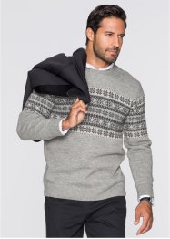 Norwegerpullover Regular Fit, bpc selection, hellgrau meliert