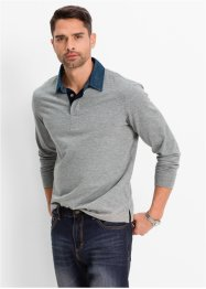 Langarmpoloshirt im Regular Fit, bpc bonprix collection, hellgrau meliert