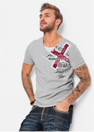 T-Shirt Slim Fit, RAINBOW, hellgrau meliert