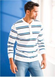 Langarmshirt Regular Fit, bpc bonprix collection, weiß/dunkelblau/azurblau geringelt