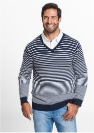 Ringel-V-Pullover im Regular Fit, bpc bonprix collection, dunkelblau/weiß gestreift