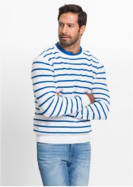 Streifen-Pullover im Regular Fit, bpc bonprix collection, weiß/azurblau gestreift