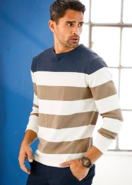 Blockstreifen-Pullover Regular Fit, bpc bonprix collection, dunkelblau/wollweiß/beige gestreift