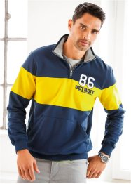 Troyersweatshirt Regular Fit, bpc selection, dunkelblau/gelb