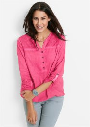 Langarm-Bluse mit Spitze, bpc bonprix collection, dunkelpink used