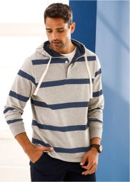 Sweatshirt mit Kapuze Regular Fit, bpc bonprix collection, hellgrau meliert/dunkelblau gestreift