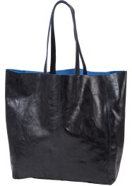 Ledershopper in Glanzoptik, bpc bonprix collection, schwarz metallic
