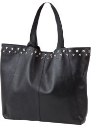 Ledershopper mit Nieten, bpc bonprix collection, schwarz