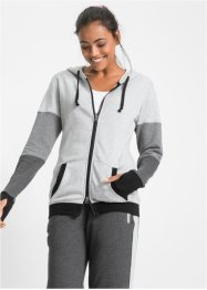 Langarm-Sweatjacke, bpc bonprix collection, hellgrau meliert
