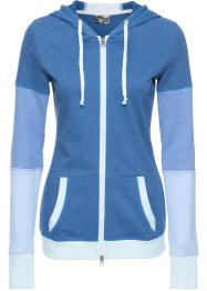 Langarm-Sweatjacke, bpc bonprix collection, enzianblau meliert
